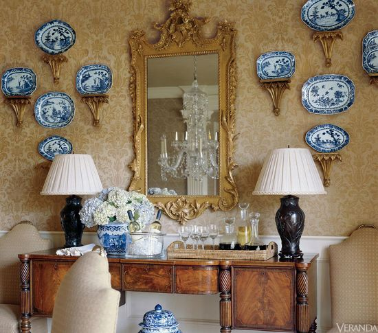 Blue and White porcelain in VERANDA. Interior Design by Toby West.
