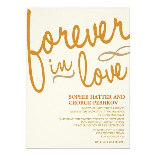 Orange Romantic Wedding Invitations