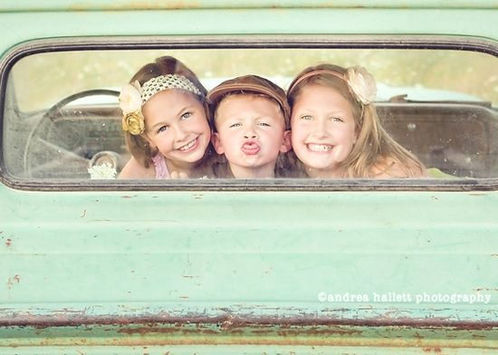 Kids + old truck