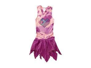 One Love Kids Pink & Purple 'Heart' Tie-Dye Handkerchief Dress