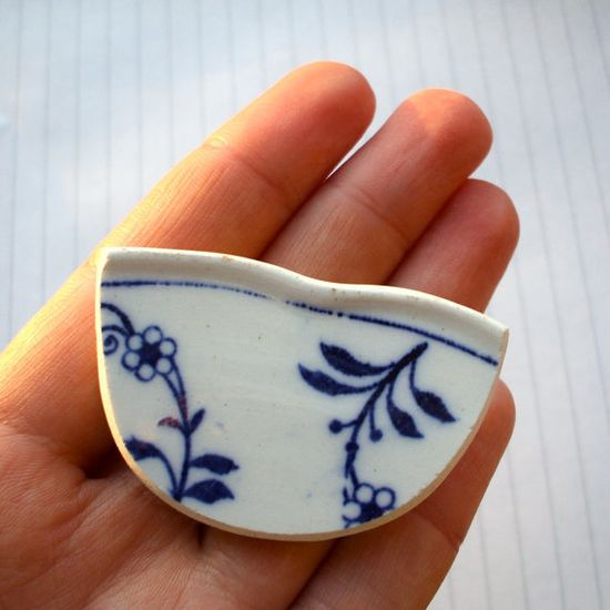Broken China Brooch made from damaged antique plate by lucie0ellen on Etsy.