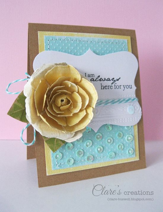 Clare Buswell for Core'dinations cardstock. Handmade paper flower. Handmade paper rose.