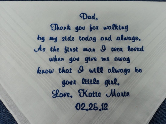 So sweet - Gift for Father of the Bride Custom by InspiredStitches on Etsy, $25.00