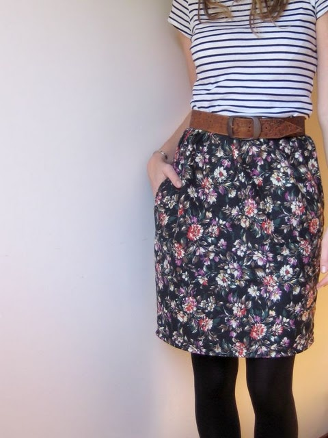 Floral DIY skirt.  Maybe pair with a pair of black wedges?