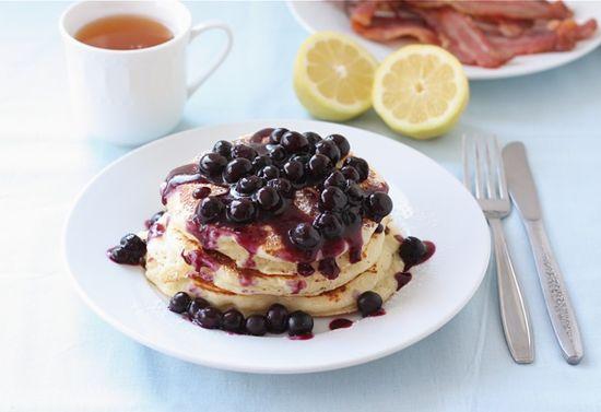 Lemon Ricotta Pancakes with Blueberry Sauce on twopeasandtheirpo...