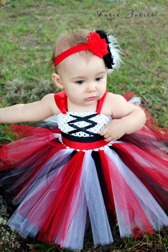 The Pirate Tutu Dress & Headband Halloween Costume by KutieTuties red black, infant, toddler, 1st birthday, birthday, newborn, baby, girl