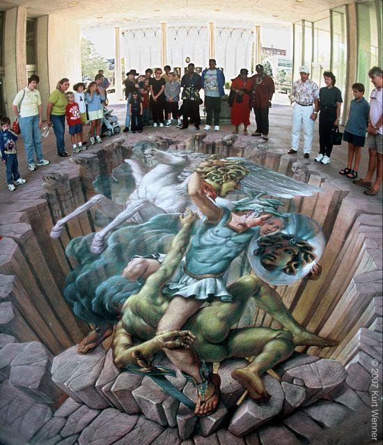 Kurt Wenner, Perseus 3d street art.