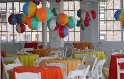 Beach Party Theme Ideas - Hang Beach Balls from Ceiling