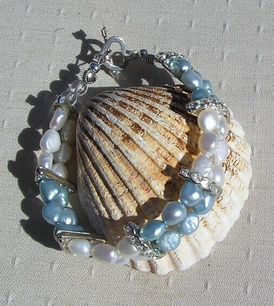 Sky Blue & Ivory Freshwater Pearl Bracelet  by SunnyCrystals, £14.75