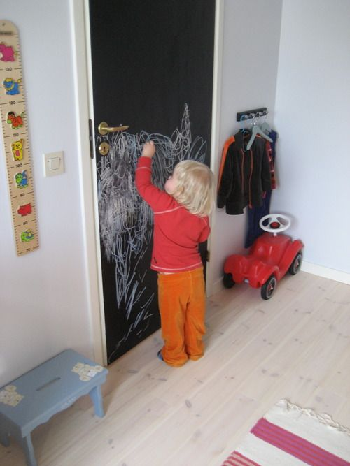 Chalkboard paint on door.