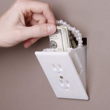 The Hidden Wall Outlet Safe ($8.59) is a non-functioning outlet with a hidden compartment for valuables behind the face. Perfect for hiding jewelry, cash, credit cards and more.