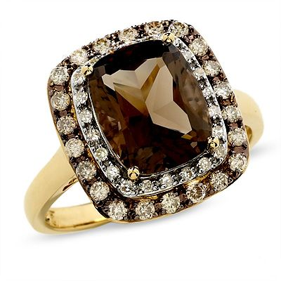 Cushion-Cut Smoky Quartz Ring in 14K Gold with Enhanced Champagne and White Diamonds - View All Rings - Zales