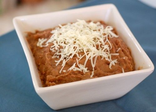 Homemade slow-cooker refried beans.
