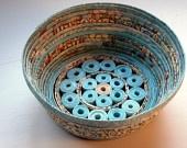 Handmade Paper Basket - Aqua, small