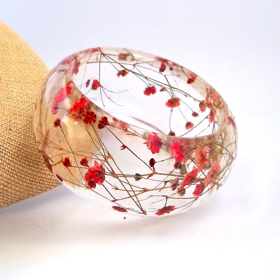 Chunky resin bangle with pressed Red Baby's Breath flowers.  Contemporary Botanical Jewelry. via SpottedDog Asheville on Etsy.