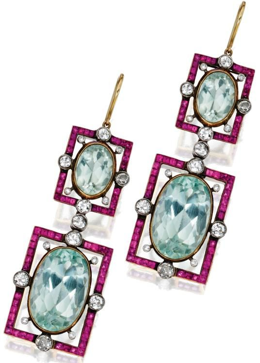 Pair of Gold, Platinum, Aquamarine, Ruby and Diamond Pendant-Earrings.