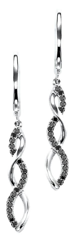 Black Diamond Infinity Earrings in Silver $360.00