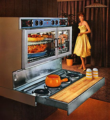 A completely mid-century style oven being put to good use in preparation of a dinner party. #oven #stove #1950s #ad #vintage #fifties #food #retro #homemaker #housewife #party