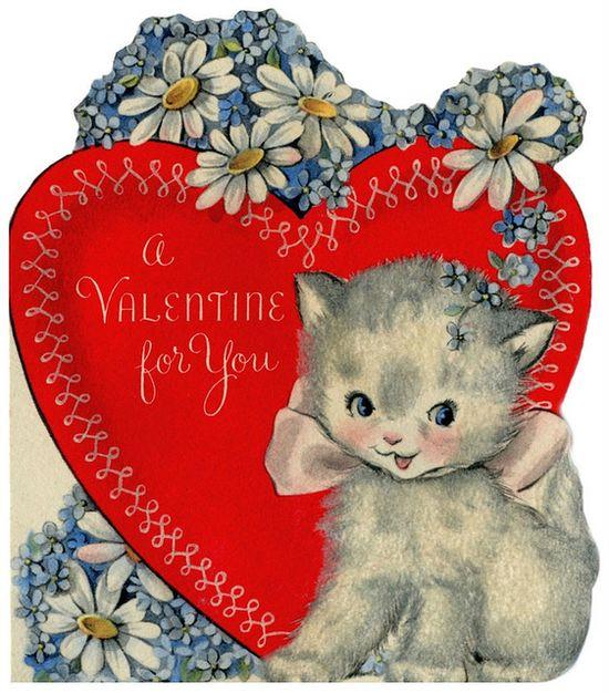 vintage Valentine kitten