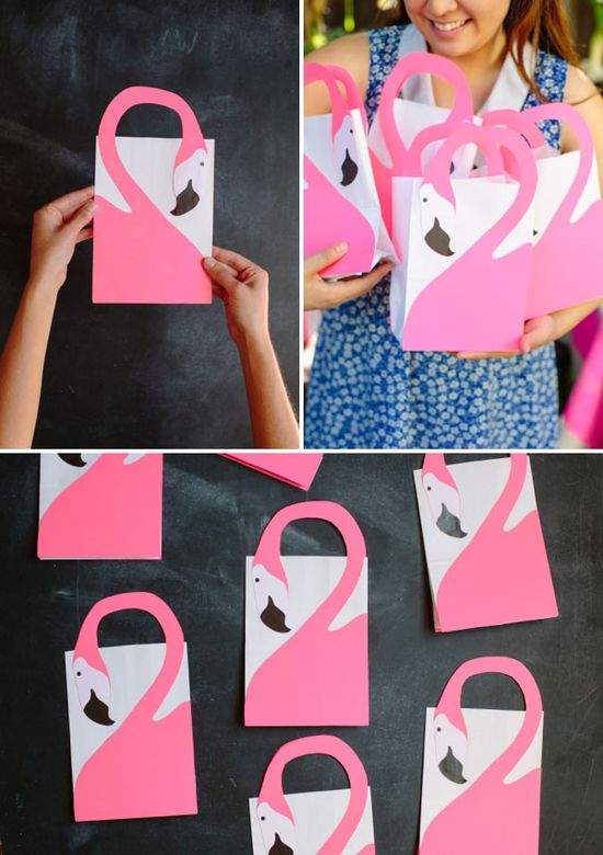 Flamingo Favor Bags DIY
