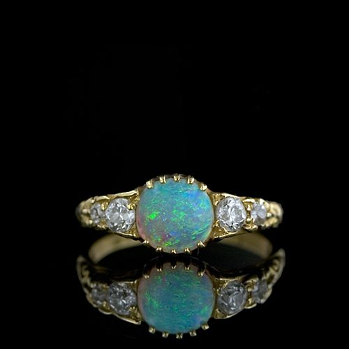 victorian opal and diamond ring