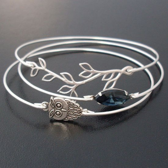 Midnight Owl Bangle Bracelet Set  Silver Blue by FrostedWillow, $39.00