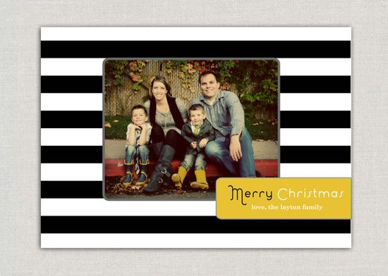 Black and White Stripe #Christmas #Card #Holiday