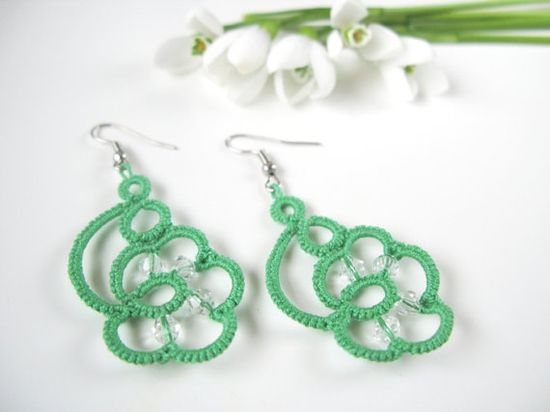 Green spring dangle earrings  handmade tatting lase by SouffleShop, $14.00