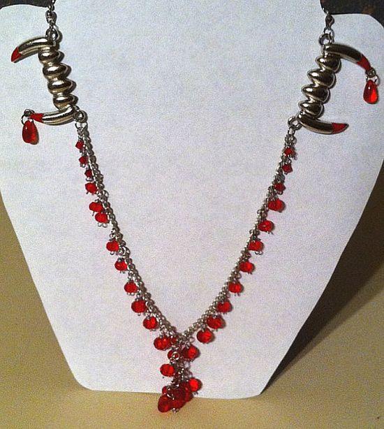 twice bitten double vampire fang red crystal by BeadingByJenn, $32.00 #jewelry #fangs #vampire #lovebites #goth #gothic #Halloween #handmade #red