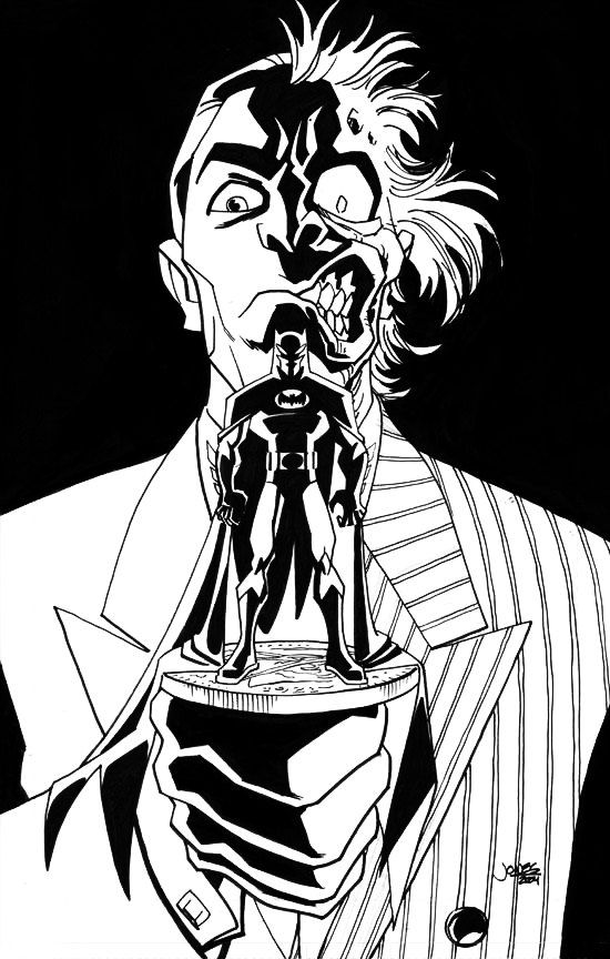 "$10 ""Two-Face Strikes"" The Caped Crusader, drawn in the style of the a"