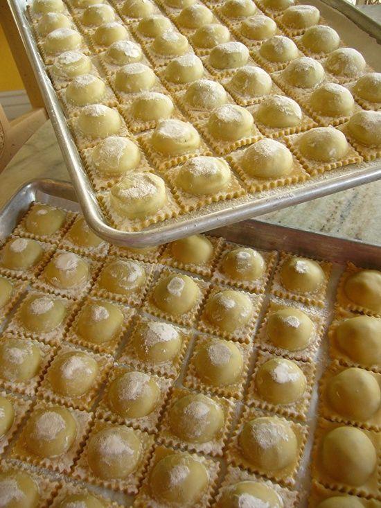 Fresh Handmade Ravioli with Spinach - Pancetta
