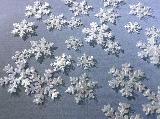 24 fluffy half transparent snow flakes 3 sizes, handmade  crafts supplies by FredaFprintables