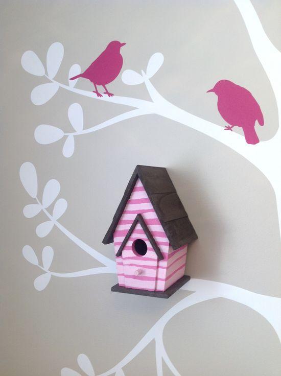 Handpainted Birdhouse Baby Girl Nursery