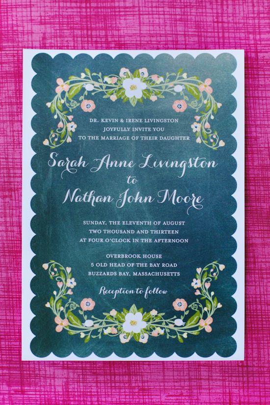 chalk board wedding invite www.weddingchicks...