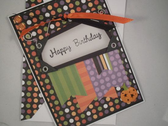 Halloween Birthday - Handmade Birthday Card with Embellished Envelope