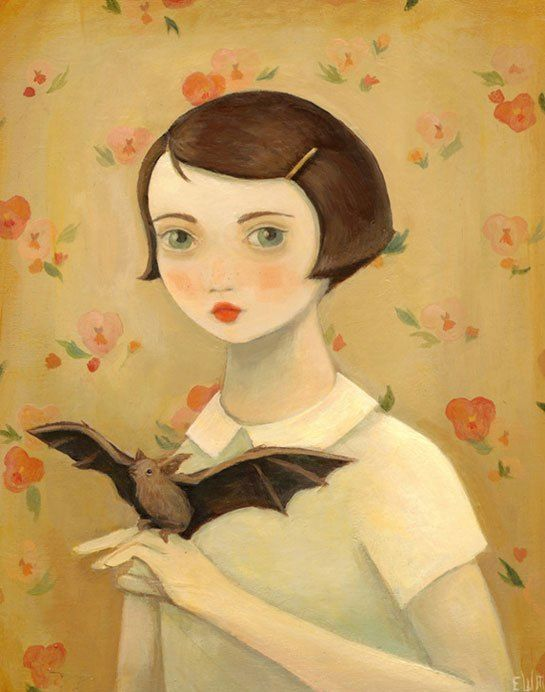 A girl with a pet bat? Or a bat with a pet girl? (Painting by Emily Winfield