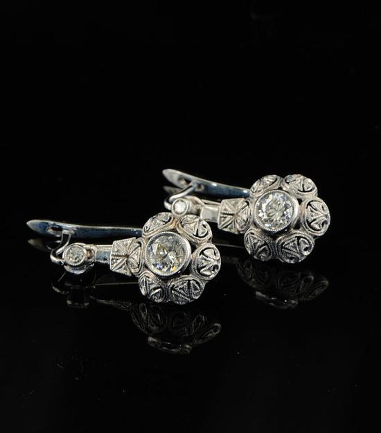 Charming genuine Art Deco diamond filigree earrings by hawkantiques on Etsy.