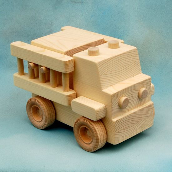 wood toy firetruck - all natural wooden toy - extra large size - fun for toddlers and preschoolers - from etsy