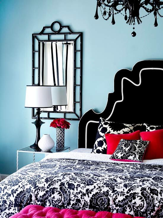 Black, White and Red Bedroom set