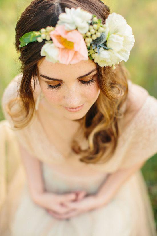 Floral headdress on Boho bride #wedding