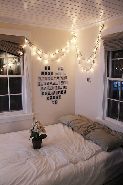 Great idea for my apartment next year. mattress on the floor nice and bright. and add pics of my college year to a wall as the year goes on