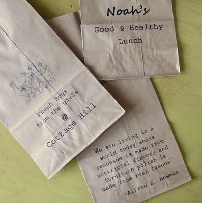 brilliant - running a lunch bag through the printer!! (diy gift bags/party favors) TONS of ideas.