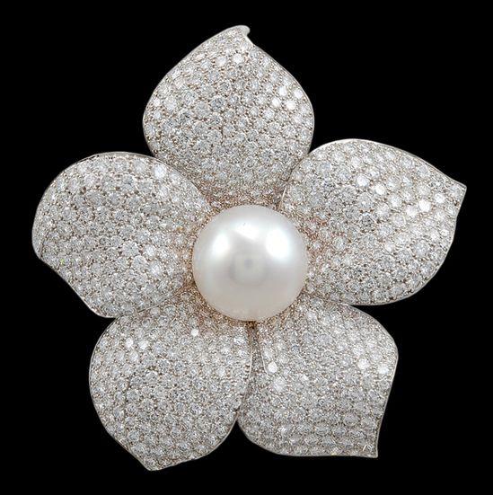 Cartier Diamond & Pearl Flower Pin