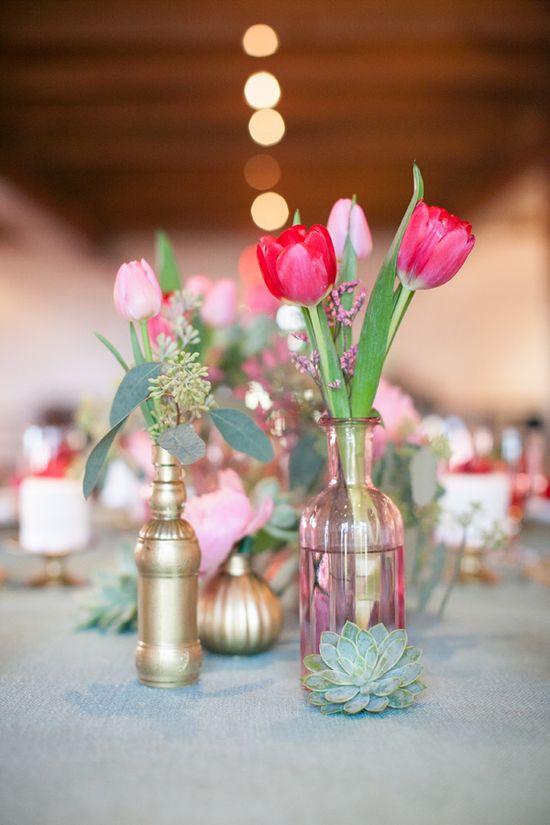 pink wedding flowers www.weddingchicks...