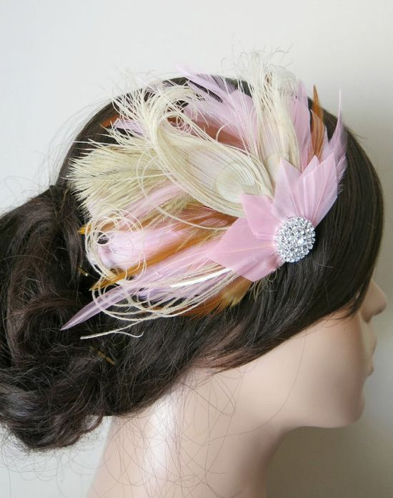 Wedding Feather Hair Accessories Feather by parfaitplumes on Etsy, $40.00  #Weddings#Accessories#Hair#hairpiece#feather#headpiece#bridal#bridesmaid#peacock#hairclip#fascinator#weddinghair#bridalhair#ivory#1920s#gatsby#pink#tan#brown