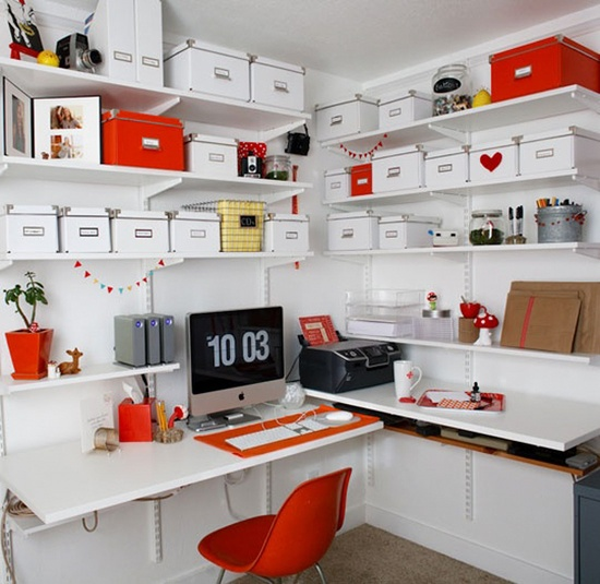 home office orange accents