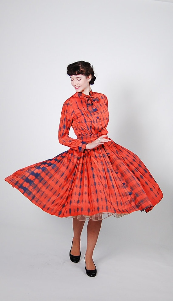 Vintage 1950s Dress  50s Party Dress  Tangerine. I want this so much