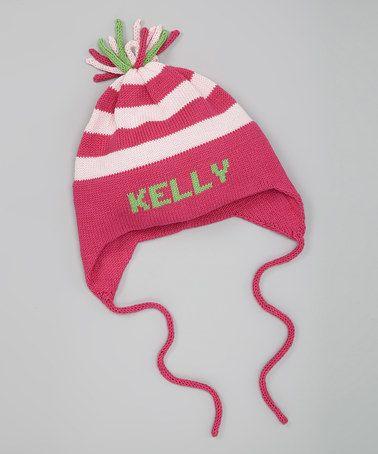 Fuchsia Stripe Personalized Ear Flap Hat by MJK KNITS on #zulily