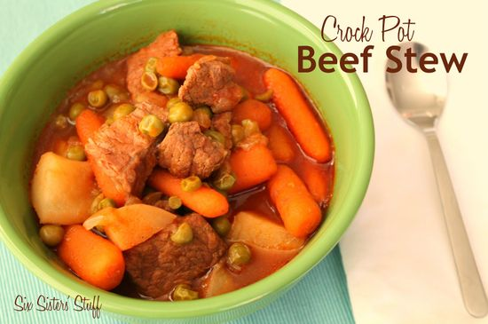 Crock Pot Beef Stew Recipe from sixsistersstuff.com.  The perfect meal for a cold day!  #recipes #slowcooker #stew