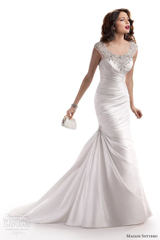 Maggie Sottero Fall 2013 Landyn wedding dress with bateau neckline.  Fit and flare.